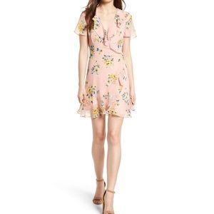 LUSH Floral Ruffle Wrap Dress L